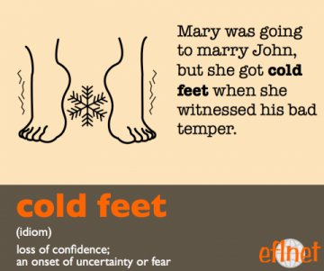 Cold feet. (Idiom) Loss of confidence; An onset of uncertainty or fear.