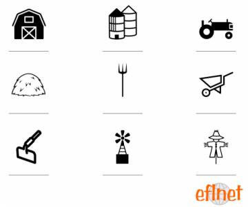 barn, silos, tractor, hay, pitchfork, wheelbarrow, hoe, windmill, scarecrow