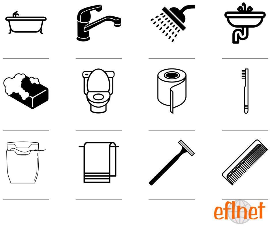 Things In A Bathroom Worksheets Eflnet